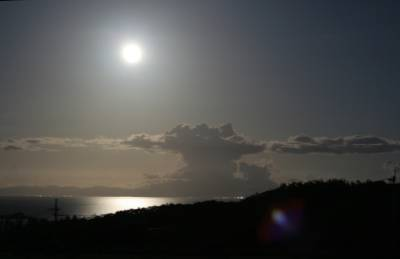 full moon over the mainland
